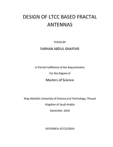 Design of LTCC Based Fractal Antenna