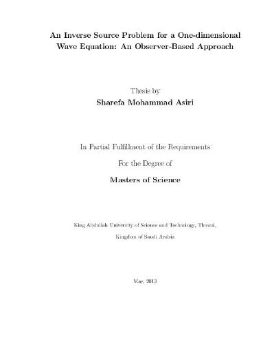 An Inverse Source Problem for a One-dimensional Wave Equation: An