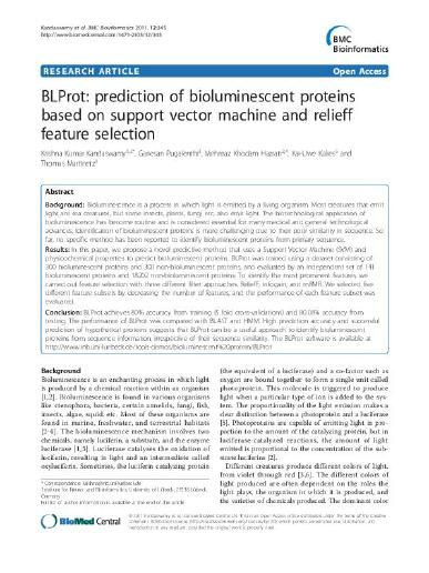 BLProt: Prediction of bioluminescent proteins based on support