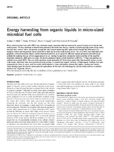 Energy harvesting from organic liquids in micro-sized