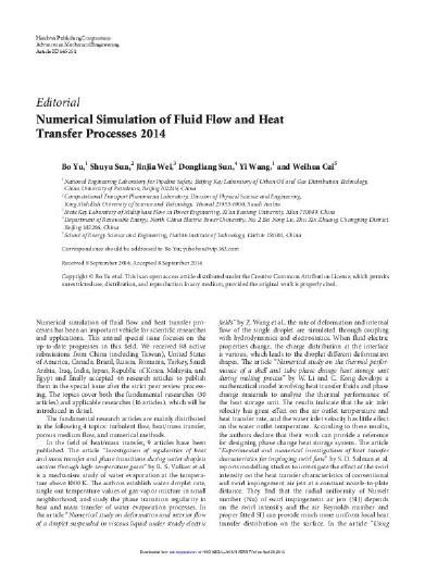 Numerical Simulation of Fluid Flow and Heat Transfer
