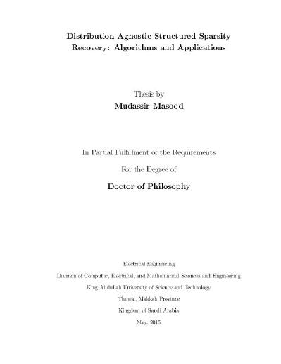Distribution Agnostic Structured Sparsity Recovery: Algorithms and