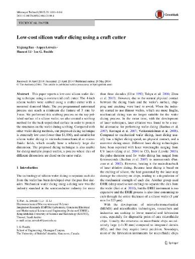 Low-cost silicon wafer dicing using a craft cutter