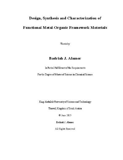 Design Synthesis And Characterization Of Functional Metal Organic Framework Materials