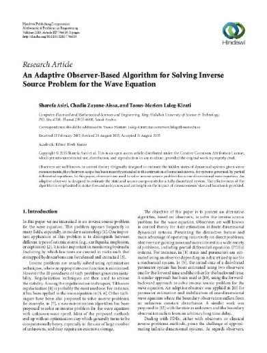 Research Article An Adaptive Observer-Based Algorithm for Solving