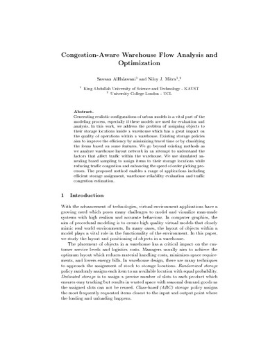 Congestion-Aware Warehouse Flow Analysis and Optimization