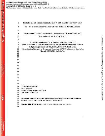 Isolation and characterization of NDM-positive Escherichia