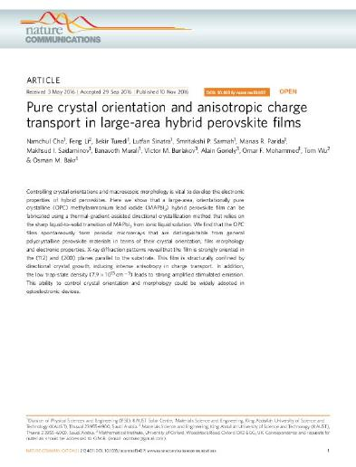 6d4852013e Pure crystal orientation and anisotropic charge transport in large ...
