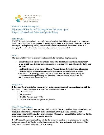 recommendation report sample pdf
