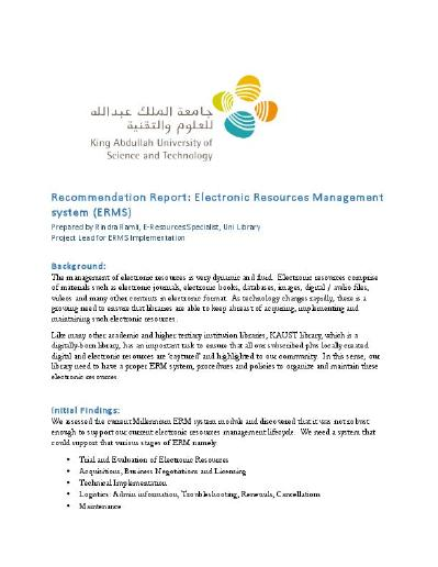 Electronic Resources Management System: Recommendation