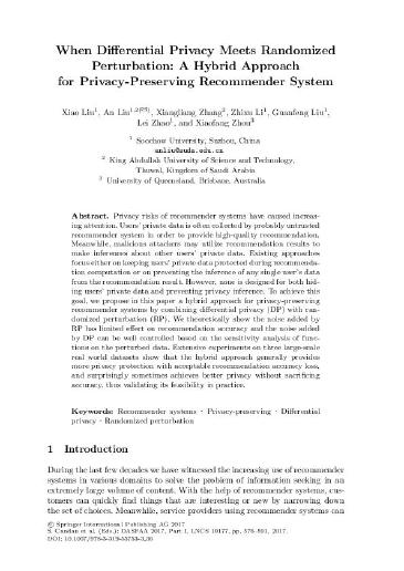 When Differential Privacy Meets Randomized Perturbation: A