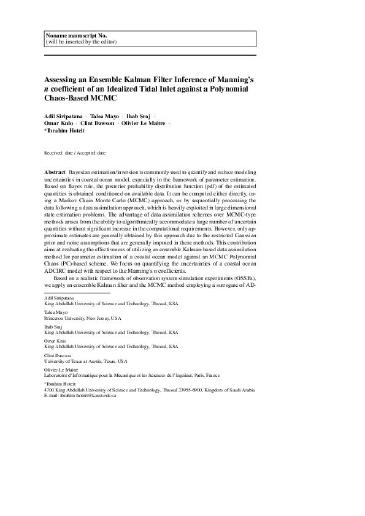 Assessing an ensemble Kalman filter inference of Manning's n