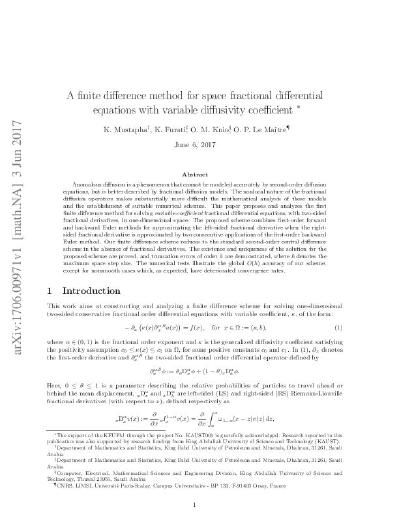 A finite difference method for space fractional differential