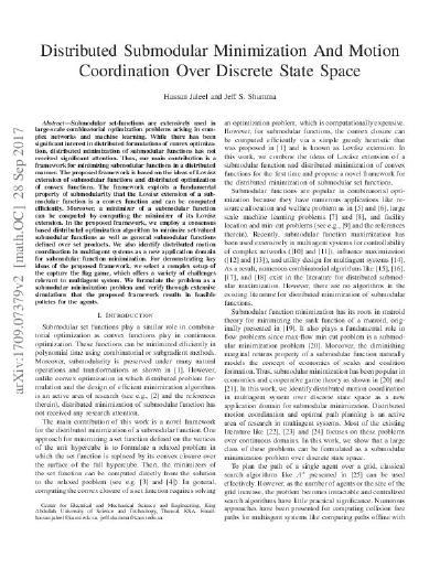 Distributed Submodular Minimization And Motion