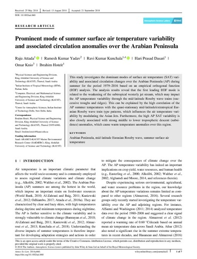 Prominent mode of summer surface air temperature variability and