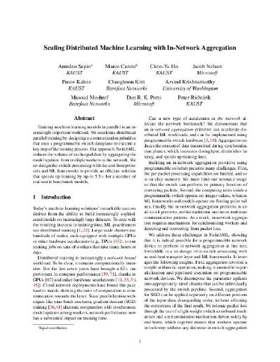 Scaling Distributed Machine Learning with In-Network Aggregation