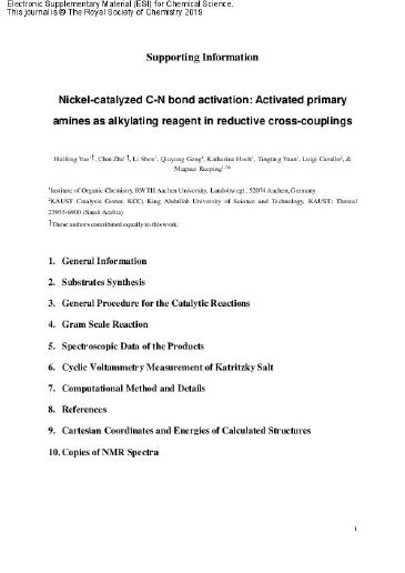 Nickel-catalyzed C–N bond activation: activated primary