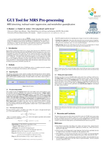 Matlab Tool for Residual Water Suppression and Denoising of MRS