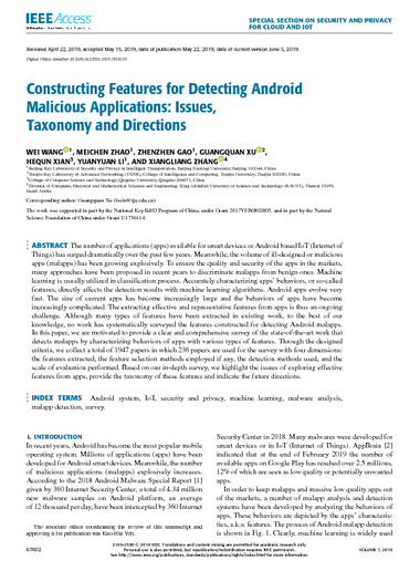 Constructing Features for Detecting Android Malicious